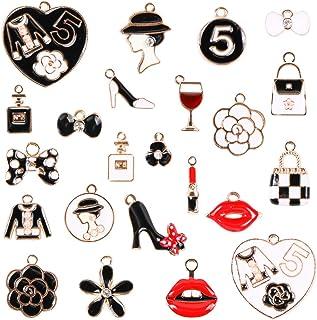 23pcs Mixed Women Makeup Lipstick Lip Dress Shoes Purse Perfume Bow-knots Gold Plated Enamel Charms Pendant for DIY Jewelr...