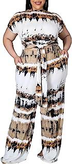 SOMTHRON Women's Plus Size 2 Piece Outfits Tie Dye Print Short Sleeve Tied Knot Crop Top Wide Leg Pockets Long Pants Set
