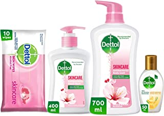Dettol Skincare Personal Cleaning Kit - Liquid Hand Wash, Shower Gel, Wipes and Sanitizer