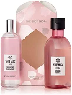 The Body Shop White Musk® Flora Mist Essentials Selection - full-sized Shower Gel and Fragrance Mist both blend uplifting notes of mandarin and bergamot with peony and lily of the valley.