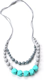 Nummy Beads Two Strand Turquoise Silicone Baby Teething Necklace for Mom to Wear, 100% BPA Free