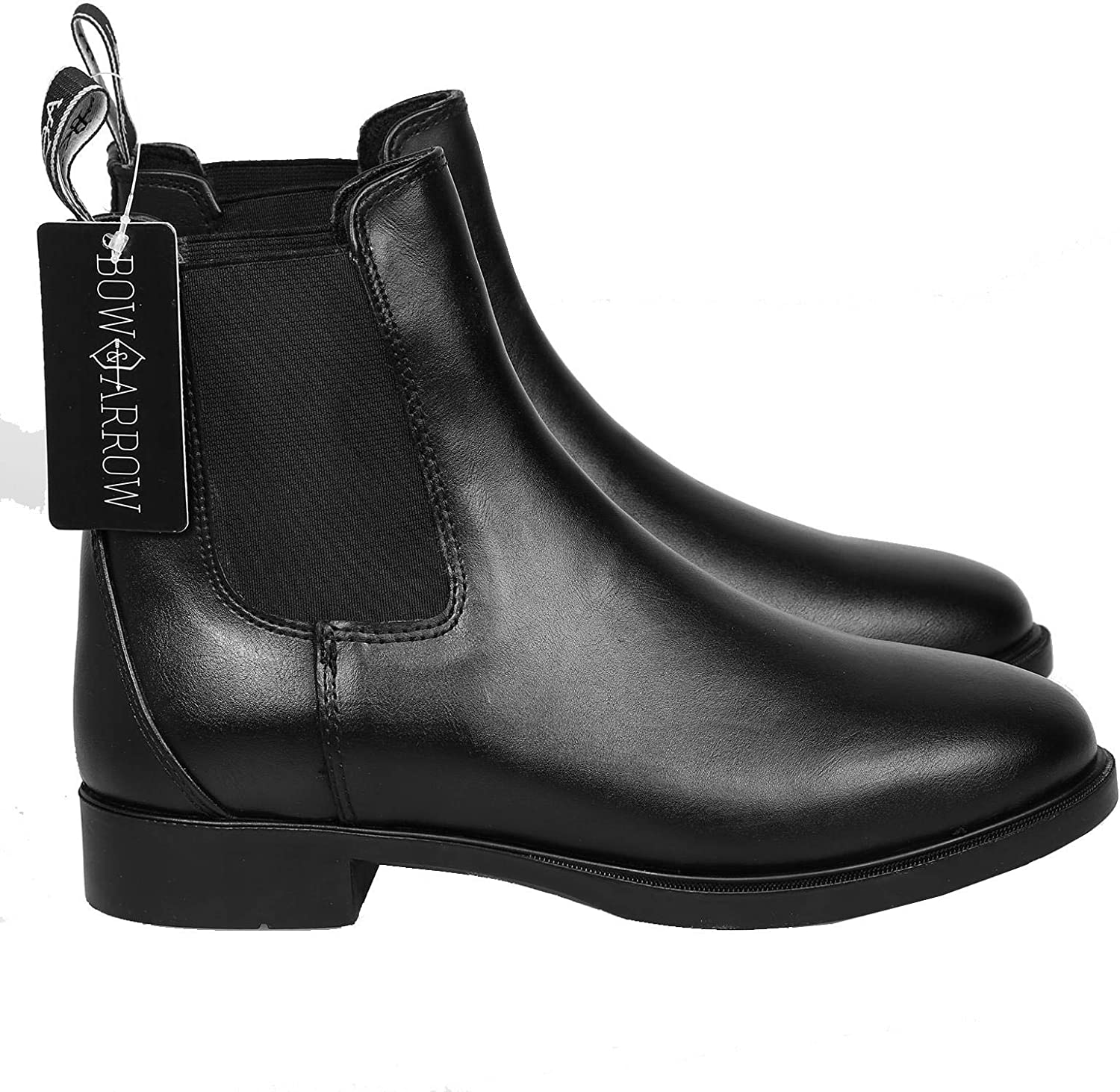 Bow & Arrow Riding Jodhpur Boots   Ladies Classic Equestrian Ankle Boots With Pull Tab Cap Toe Low Block Heel   Women Chelsea Girls Shoes Made With Leather Material