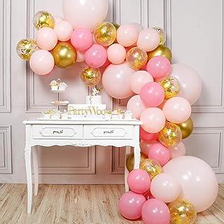 PartyWoo Ballon Rose Or, 66 pcs Ballon Rose, Ballon Doré, Ballon Pastel Rose, Ballon Confettis Or, Ballons Rose Or pour De...