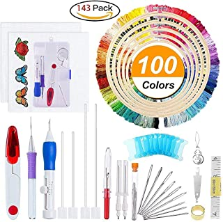 Magic Stickerei Stift Punch Nadel, 50 Farbe Threads Stickerei Pen Set Craft Werkzeug für Stickerei Stricken Nähen Werkzeug Einfädler, Ac152, Free Size