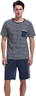 Aibrou Men's Summer Sleepwear Short Sleeve Striped Cotton Shorts and Top Pajama Set