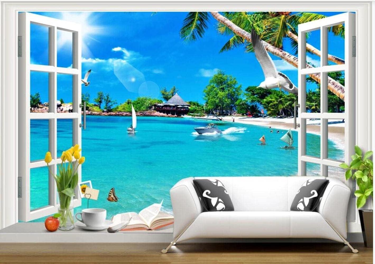 MAZF Custom Mural on The Wall Paper Window Sky sea 3D Classic Blue Overseas parallel import regular item Beach