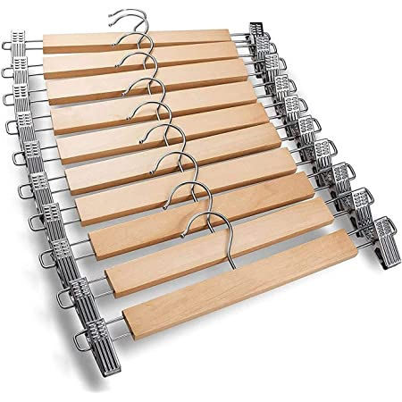 Corosell Wooden Hangers | Pack of 6 | Metal Adjustable Non Slip Clips Grip | Chrome Swivel Hook | Cloths Pants Skirt Children Shorts Hanger | Slack Jacket (6)