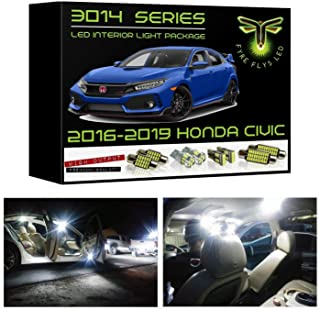 Fyre Flys 6 Piece White LED Interior Lights for 2016-2019 Honda Civic Super Bright 6000K 3014 Series SMD Package Kit and Install Tool