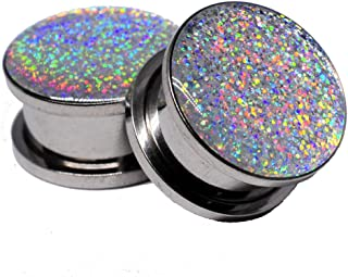 Screw on Plugs - Silver Holographic Glitter Plugs - Sold As a Pair