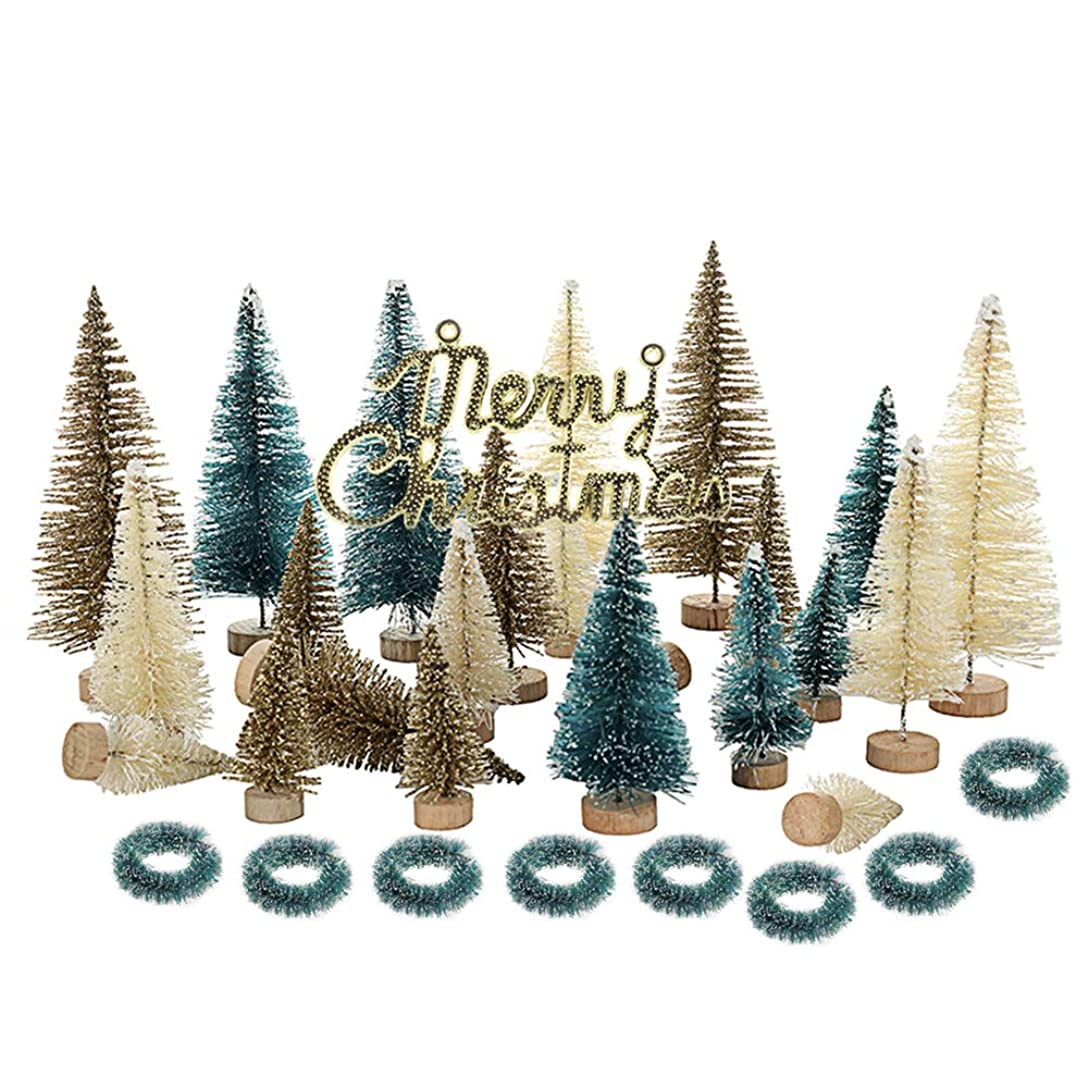 カロリー量で広範囲にLangba クリスマスツリー 33PCS 卓上ツリー ミニクリスマスツリー クリスマス飾り クリスマスマーク クリスマスリース 木製ベース デコレーション プレゼント