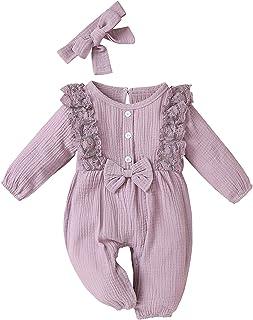 Julhold Babykleidung Set Baby Mädchen Kleidung Outfit 1-teiliges Baumwolle Und Leinen 8-Farben Langarmhose Schmetterlings-Spitzenbesatz Strampler Kleidungs 0-18 Monate