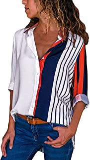 LUCA Womens Casual Blouse Long Sleeve Stripe Button T Shirts Loose Tops Shirts