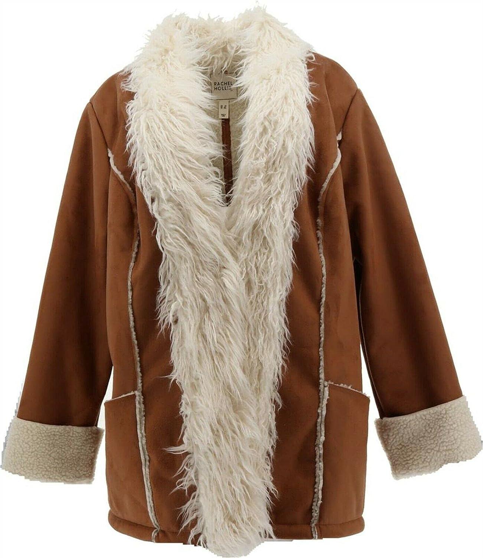 Rachel Hollis Ltd Faux Suede Jacket Shearling Trim A374139