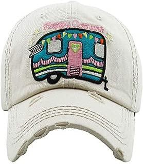 KBETHOS Hats Women's Happy Camper Washed Vintage Baseball Hat Cap