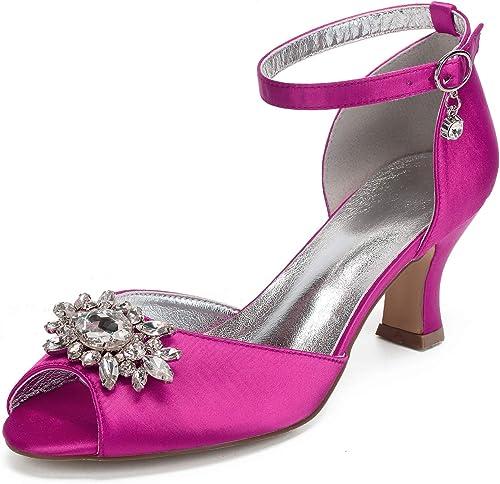AIMIchaussures Ladys Satin Cristal Broche Robe De Soirée Soirée Chaussures Ankle Strap avec Boucle Talons De Mariée De Bal De Bal Pompes  expédition rapide dans le monde entier