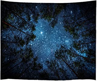 Goodbath Starry Forest Tapestry, Night Sky Galaxy Space Trees Wall Hanging Tapestries for Bedroom Living Room Dorm, 80 x 60 Inch