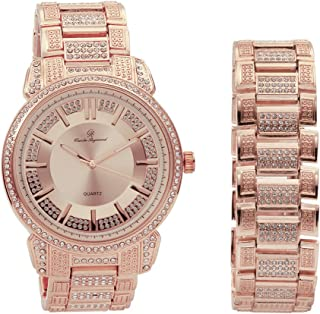 Bling Bling Mens Hip Hop with Class Watch and Matching Bracelet in Elegant Gift Box - 8479B Rose Gold