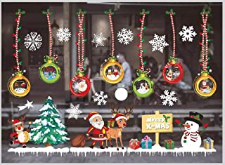 KINBEDY Colorful Christmas Window Stickers PVC Wall Decal Easy to Install &Apply DIY Decor Sticker Home Art Decor.