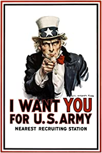 WPA War Propaganda Uncle Sam I Want You for US Army Recruiting WWII Vintage Patriotic Cool Wall Decor Art Print Poster 24x36