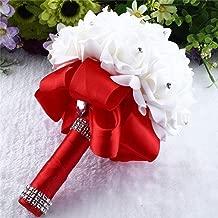 YJYdada Crystal Roses Pearl Bridesmaid Wedding Bouquet Bridal Artificial Silk Flowers (Red)