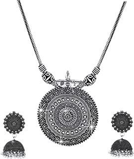 Yellow Chimes Latest Fashion German Silver Traditional Pendant Necklace Set With Jhumka Earrings by Yellow Chimes Jeweller...