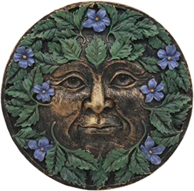 Ebros Bronzed Blooming Foliage Spring Celtic Greenman Wall Decor Periwinkle Flowers Pan Small Round Wall Plaque As Home Decorative Sculpture Housewarming Present