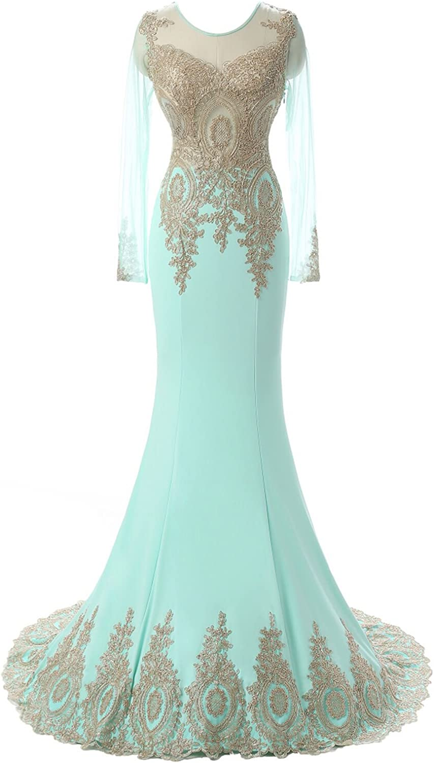 Epinkbridal Women's Long Sleeve Evening Dress Sexy Applique Mermaid Prom Gown