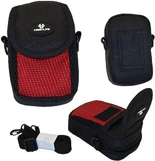 Case4Life Negro/Rojo cámara compacta Funda Bolsa para Canon Ixus 1} 2} 3} 5} Serie HS IS Inc 125 HS, 132, 145, 150, 155, 160, 165, 170, 175, 180, 240 HS, 255 HS, 265 HS, 275 HS, 285 HS