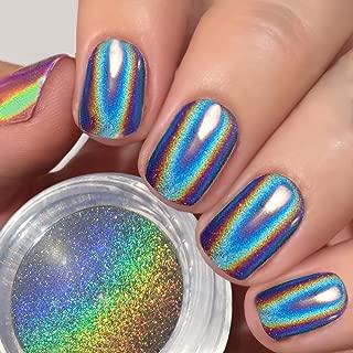 PrettyDiva Holographic Nail Powder - Unicorn Chrome Nails Powder Iridescent Glitter Nail Pigment,Top Grade Rainbow Holo Nails Laser Silver Manicure Pigment - 1g/jar