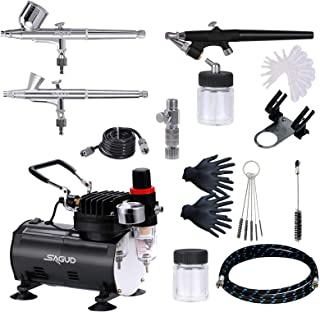 SAGUD Air Brush Compressor Airbrushing Kit with 3 Professional Airbrushes, 0.2mm, 0.3mm Gravity Feed, 0.8mm Siphon Feed fo...