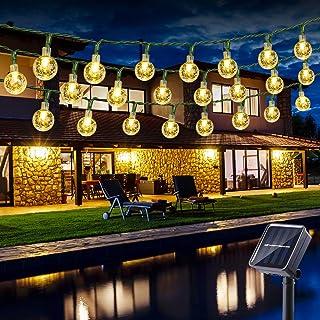 Guirnalda Luces Exterior Solares, BrizLabs 6.5M 30 LED Cadena de Luces Impermeable 8 Modos De Iluminación para Interiores y Exteriores Jardín, Navidad, Terraza, Patio, Fiestas (Blanco Calido)