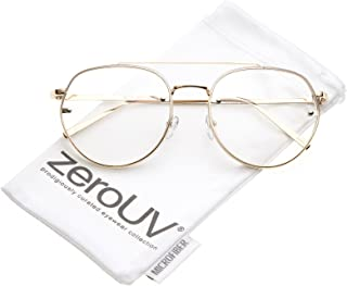 Modern Slim Brow Bar Rimless Clear Round Flat Lens Aviator Eyeglasses 59mm