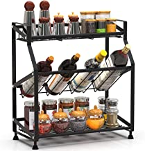 Spice Rack, Cambond 3-Tier Spice Organizer Seasoning Organizer for Kitchen Counter, Cabinets and Pantry Organization, Black