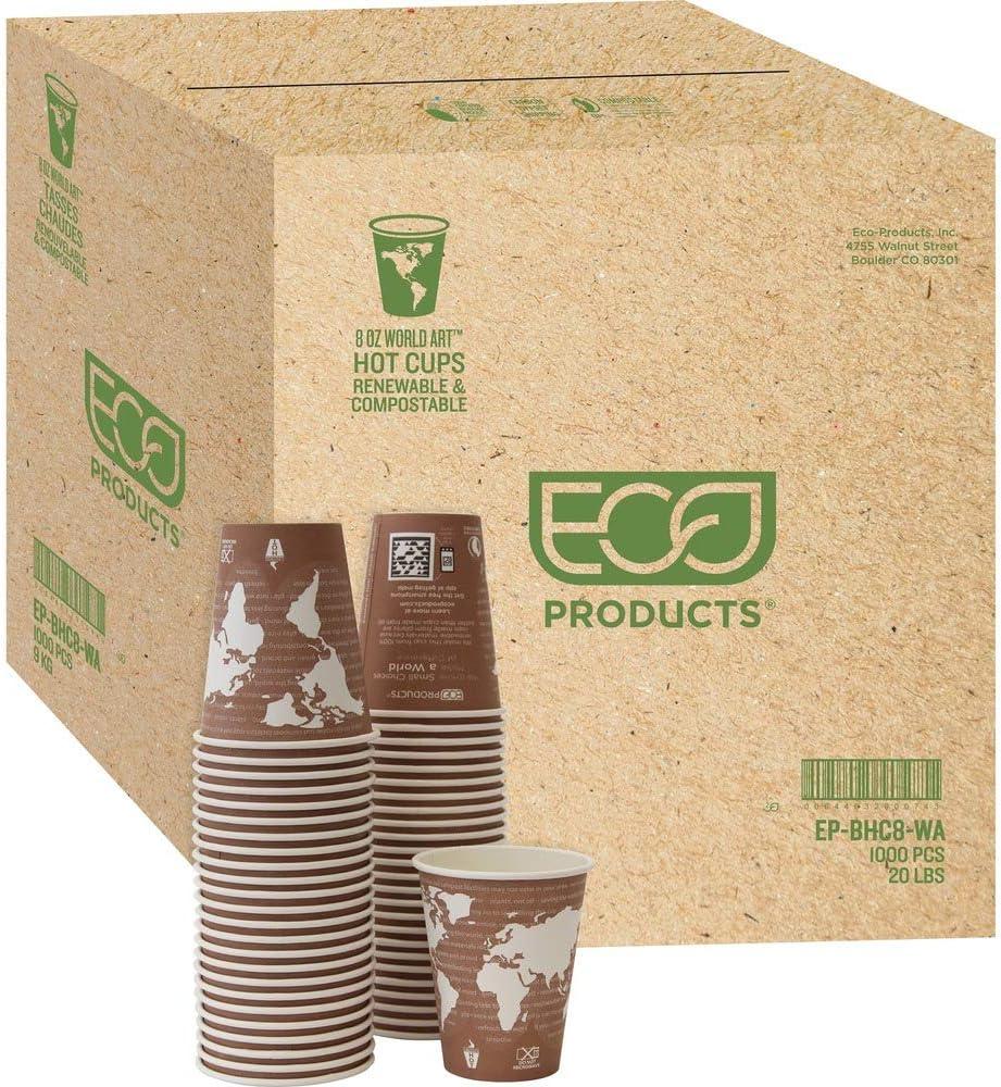 World Art Renewable/Compostable Hot Cups, 8 Oz, Plum, 50/pack, 1