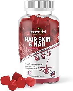 Essential Supplements Hair Skin & Nails | Gummy Bears for Hair Growth | Hair, Skin, and Nails Gummies for Women | Gummy Vi...