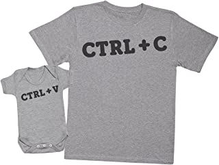 Zarlivia Clothing CTRL C and CTRL V - Matching Father Baby Gift Set - Mens T Shirt & Baby Bodysuit