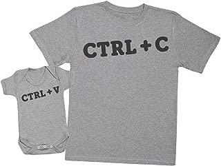 Zarlivia Clothing CTRL C and CTRL V - Matching Father Baby Gift Set - Mens T Shirt & Baby Bodysuit