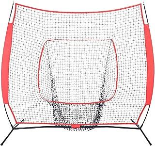 Hli-SHJHsmu 7FT x 7FT Baseball Softball Foldable Portable Practice Net Batting Training Net Baseball Batting Practice Network Net