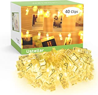 Novostella Photo Peg Lights Battery Operated, 40 Clips 5.5M, 2 Modes, LED Photo Clip String Fairy Lights, Christmas Cards Hanger, Warm White, for Picture Notes Artwork Decoration Hanging
