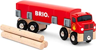 BRIO World 33657 - Lumber Truck - 6 Piece Wooden Toy Train for Kids Ages 3 and Up