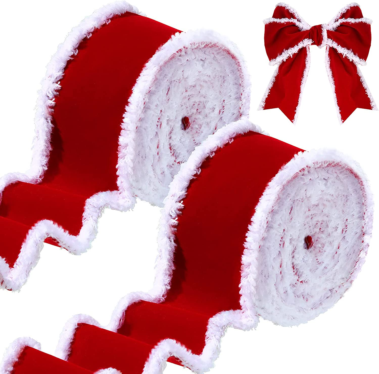 2 Rolls Christmas Velvet Ribbons White and Red Decorative Ribbons Rolls Craft DIY Ribbon Fabric Cloth Ribbon Wire Edge Ribbons for Craft Christmas Festivals Decoration : Arts, Crafts & Sewing