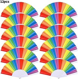 12 piezas de plástico arco iris abanico abanicos, colorido verano ventilador de mano fiesta temática decoración del partido favores eventos del orgullo gay fan de la danza para mujeres hombres