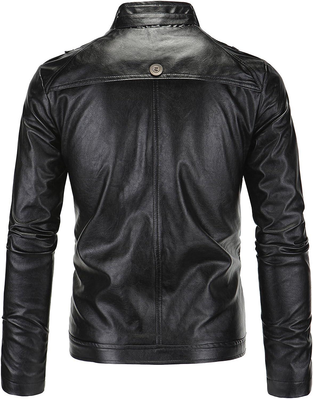 Jueshanzj Mens PU Leather Jacket Retro Zipper Motorcycle Jacket Autumn Winter