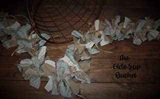The Olde Sap Bucket Sea Foam Blue Plaid Farmhouse~ Primitive~Country~ Homespun~Lighted Rag Garland~Burlap~Twine Bows
