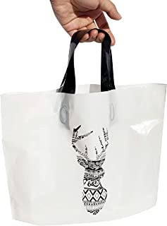 SOONDAY Retail bags Merchandise Bags 10x13 Soft Loop Shopper Reusable Gift Bags Shopping Bag Retail Bag for Event, Craft Show, Holiday Gift Pack of 50 (deer)