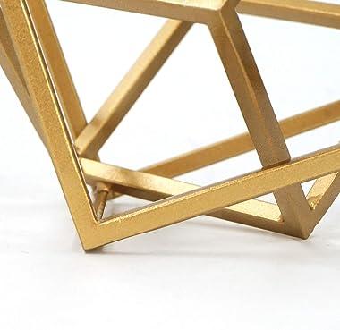 DreamsEden Geometric Sculpture, Metal Cube Decorative Ornaments Golden Home Decor Accent