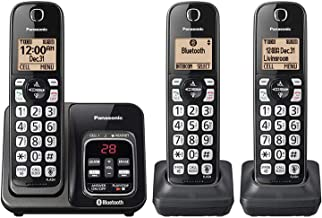 $76 » Panasonic KX-TG833SK Bluetooth Link2Cell Cordless Phone with Voice Assist and Answering Machine = 3 Handsets