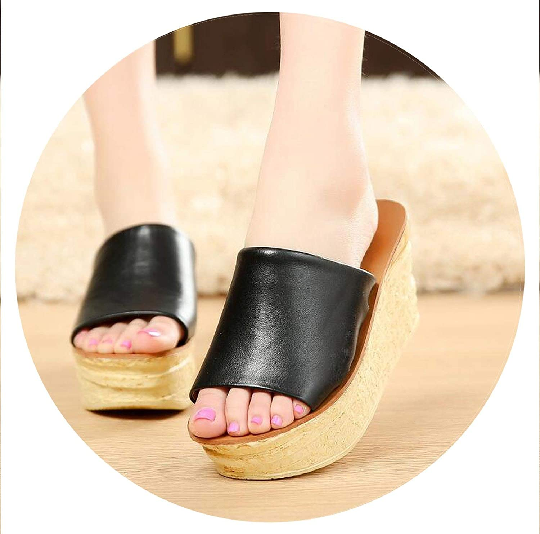 Summer-lavender First Layer Cowhide Fashion Peep Toe Wedges Platforms Ladies Sandals shoes Black Size 34-39 d594