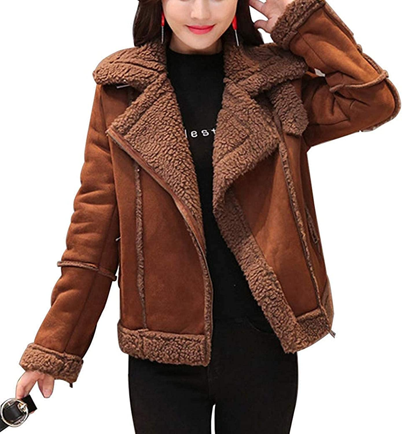 Women's Winter Casual Sherpa Lined Zip Up Moto Suede Leather Jacket