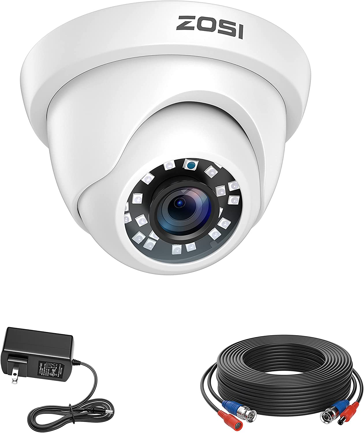 ZOSI 1080p HD 1920TVL Security Camera Outdoor Indoor (Hybrid 4-in-1 HD-CVI/TVI/AHD/960H Analog CVBS),80ft IR Night Vision,90° View Angle Weatherproof CCTV Dome Camera with Cable and Power Supply